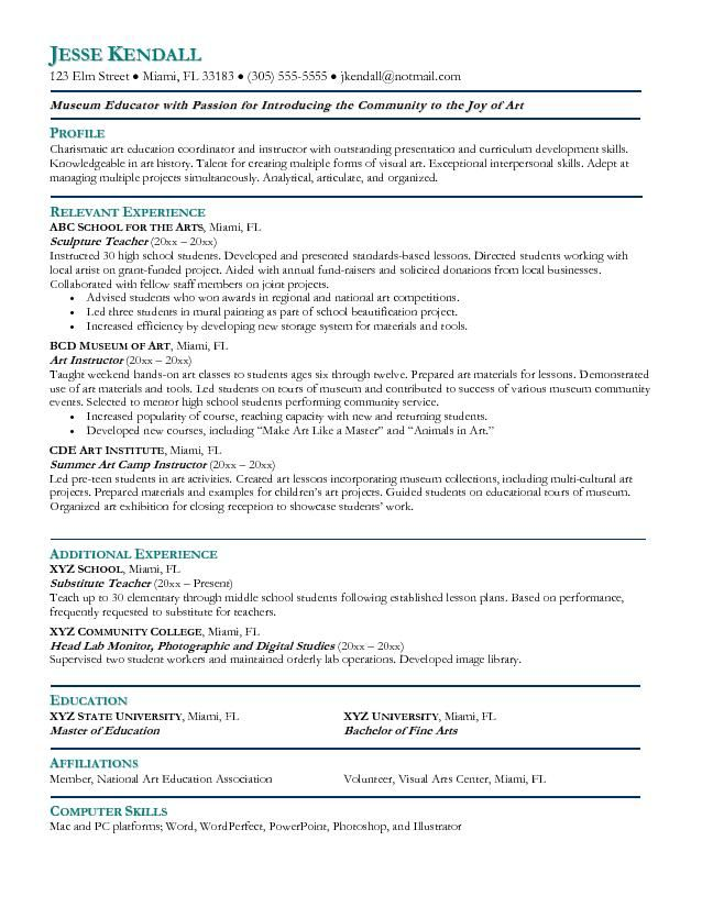 Art Teacher Resume Template Free
