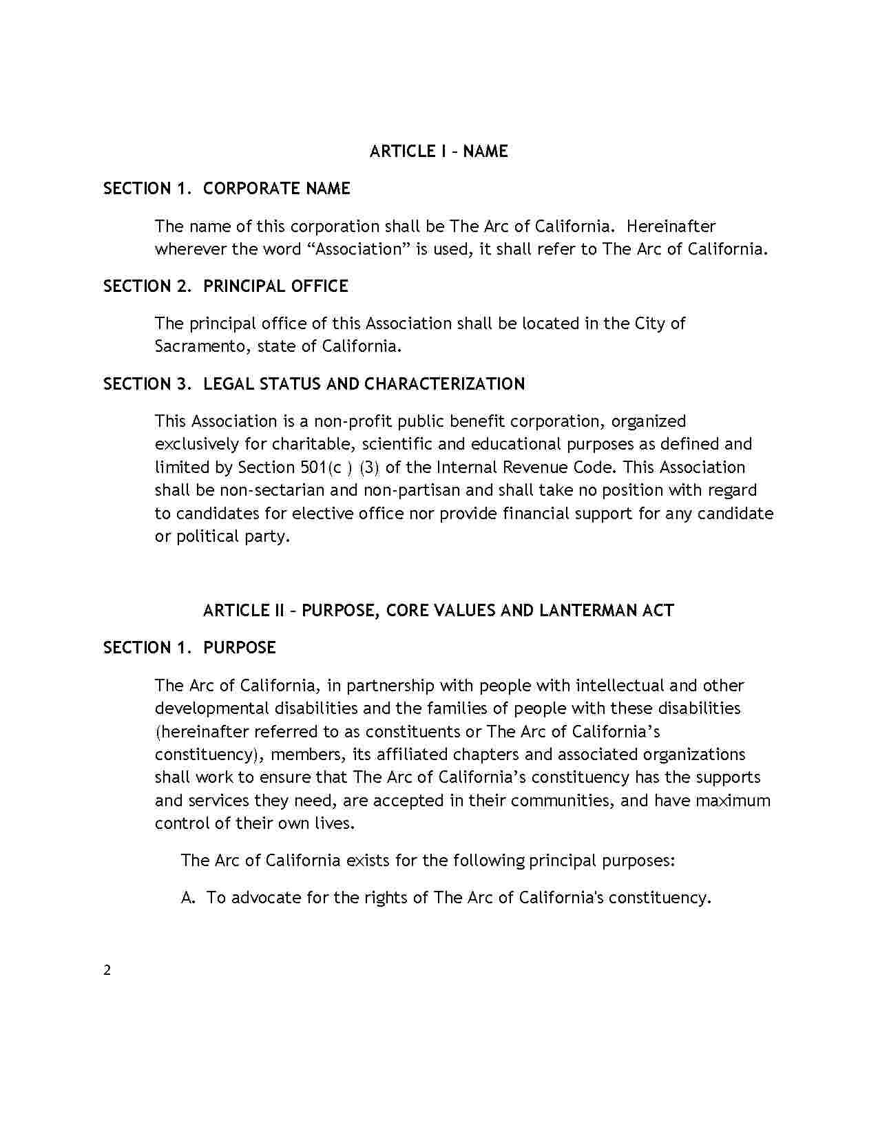 Articles Of Incorporation California Template