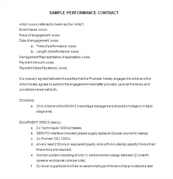 Artist Manager Contract Template