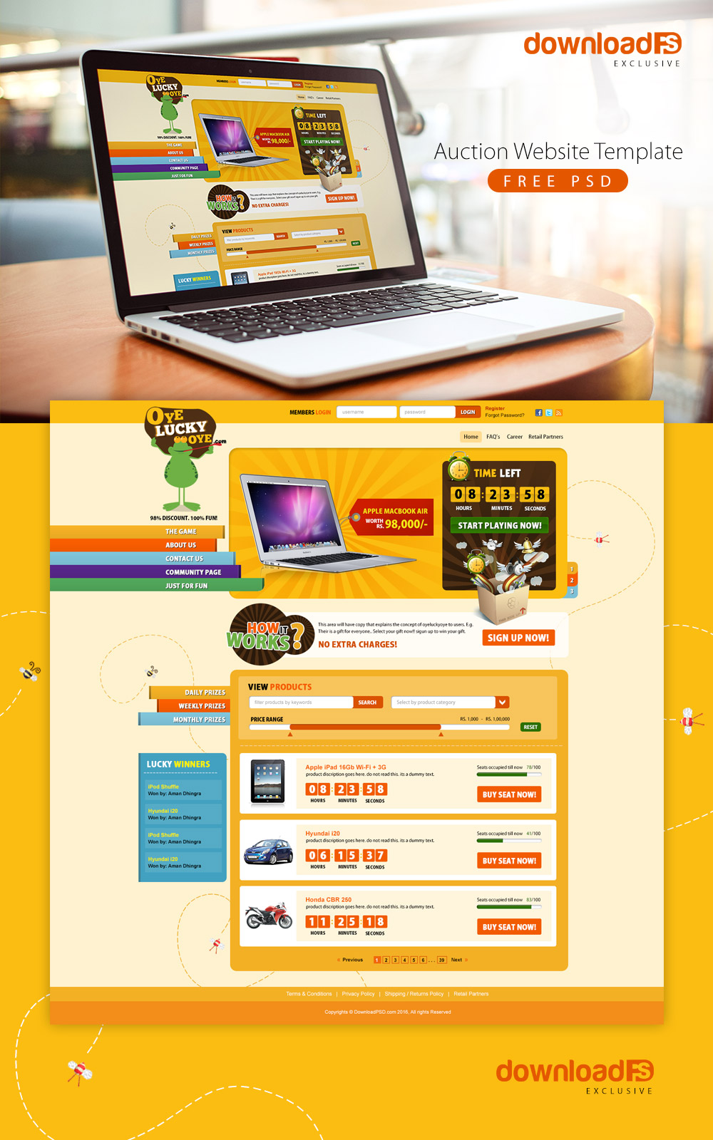 Auction Website Template Free