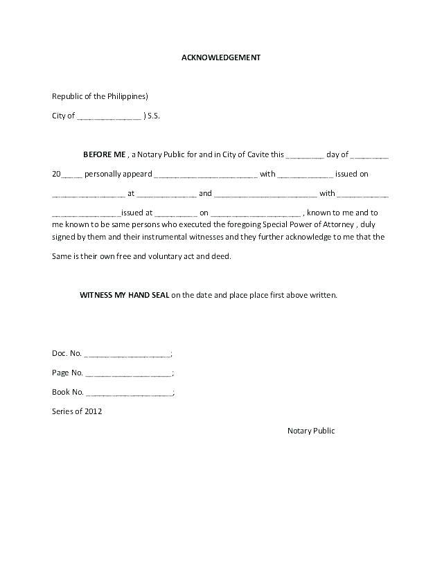 Authorization Template Power Of Attorney Letter