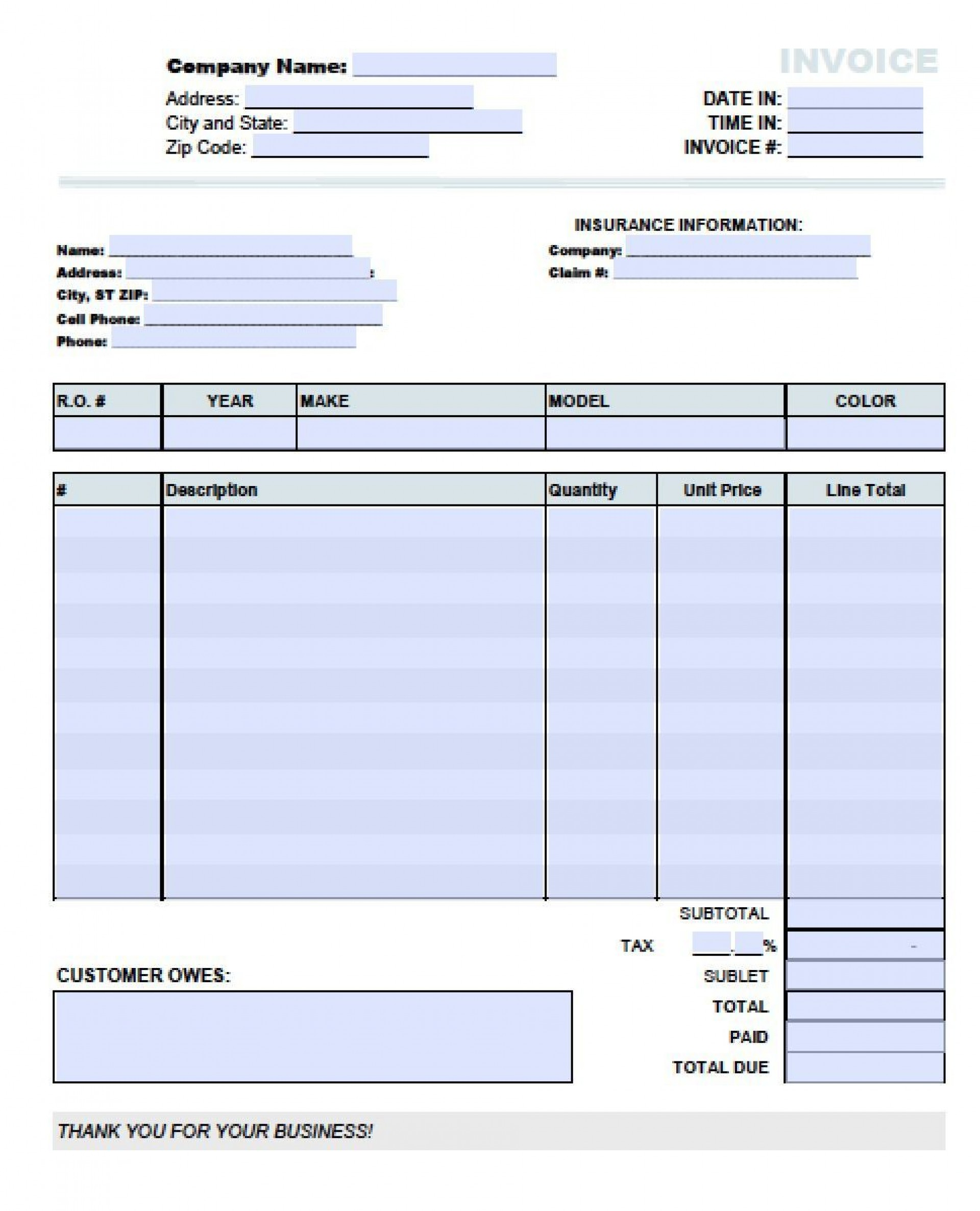 Auto Body Shop Invoice Template
