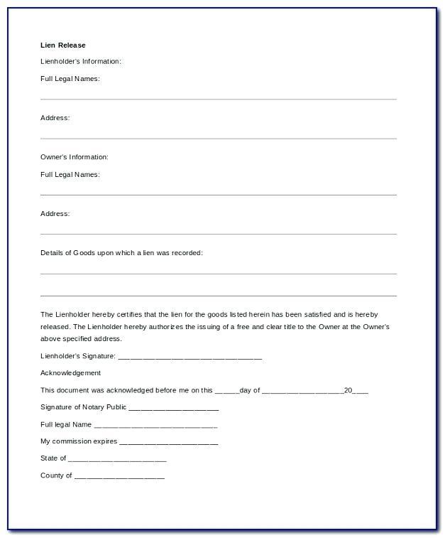 Auto Lien Release Request Letter Template