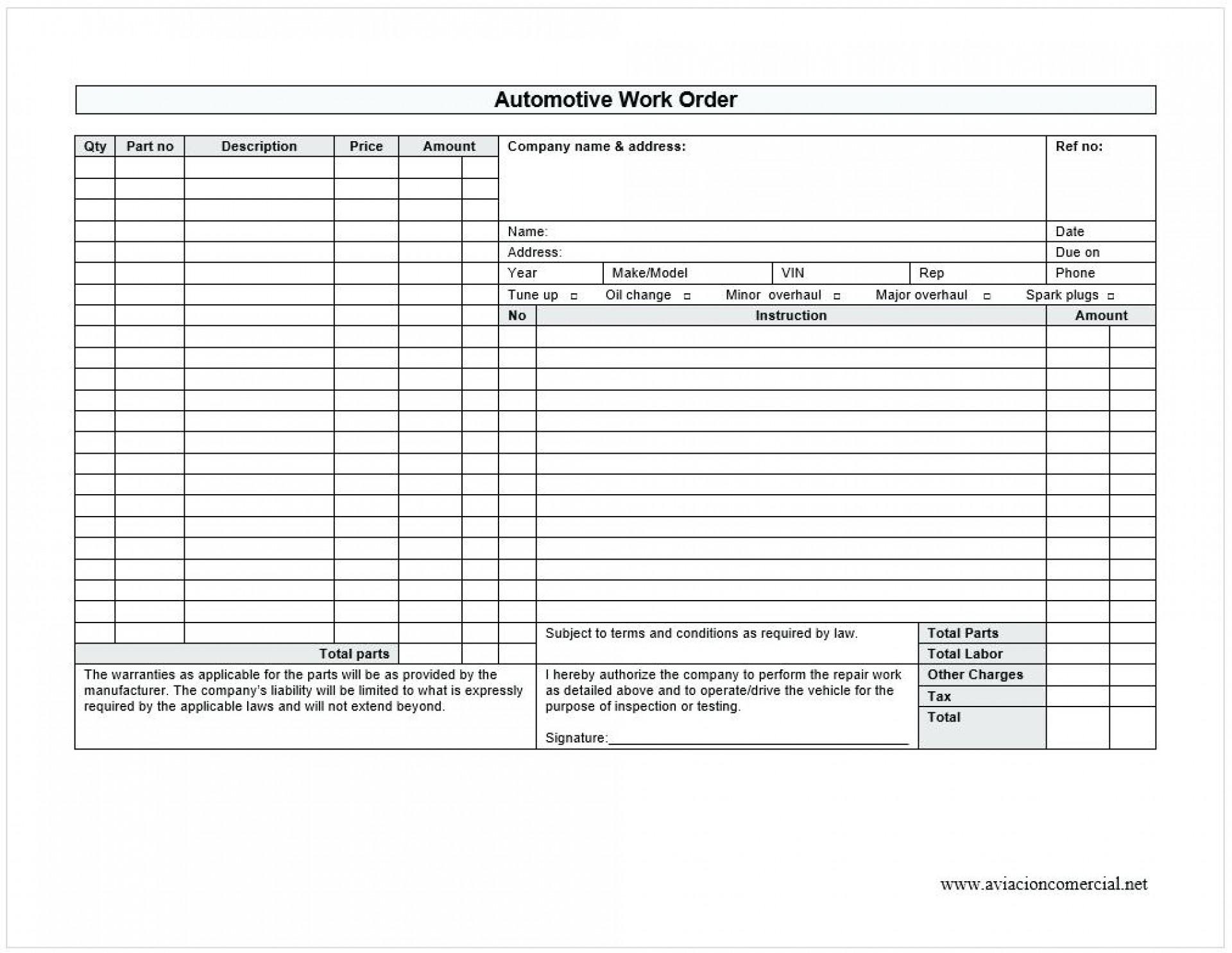 Auto Repair Work Order Template Excel Free