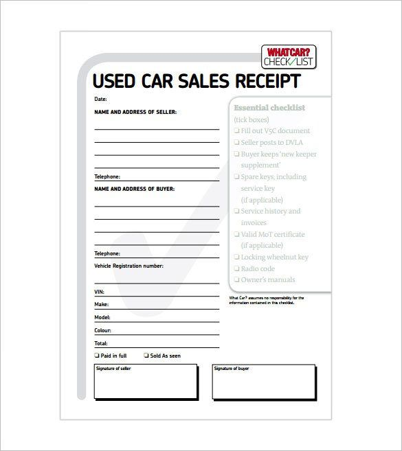 Auto Sale Receipt Template