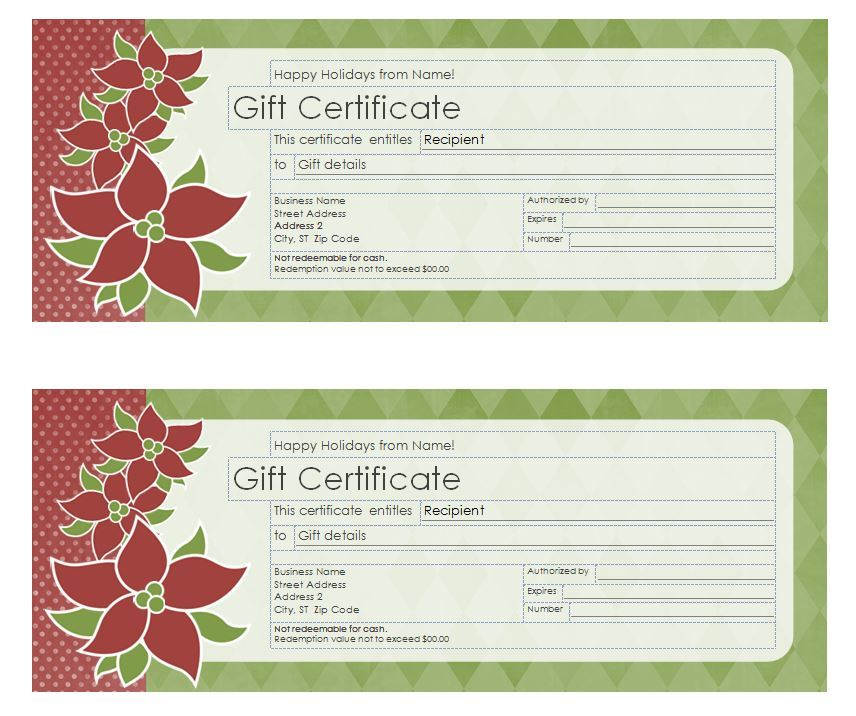 Avery Gift Certificate Template