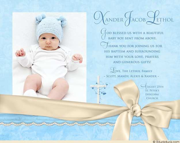 Baby Boy Christening Invitation Template Blank