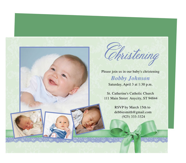 Baby Boy Christening Invitation Template