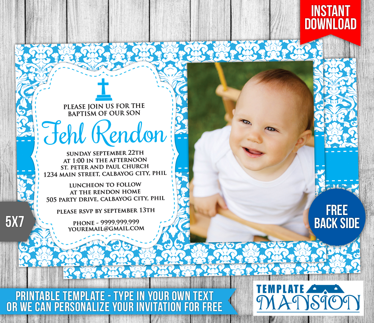 Baby Boy Christening Invitation Templates Free Printable