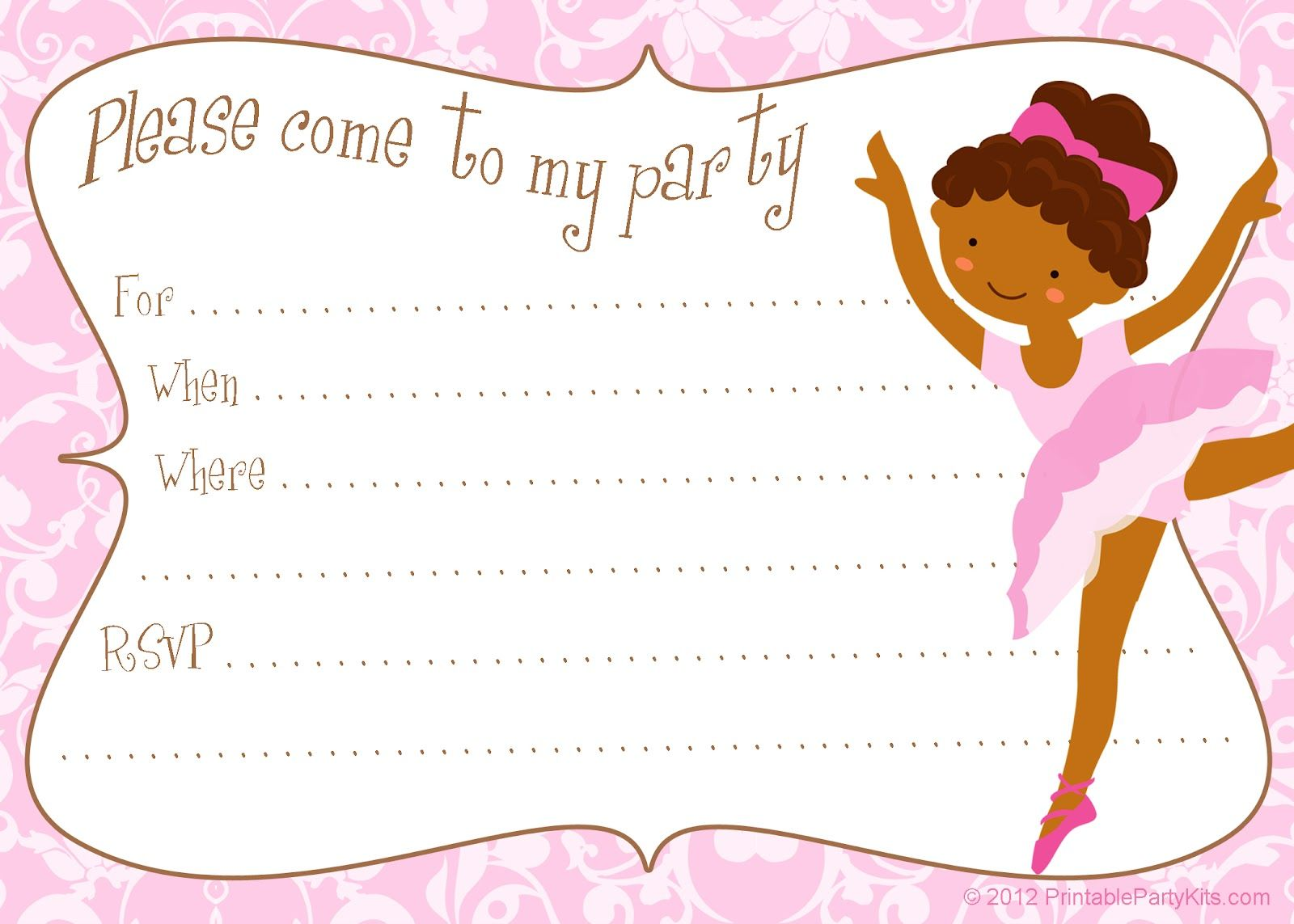 Ballerina Birthday Invitation Template Free