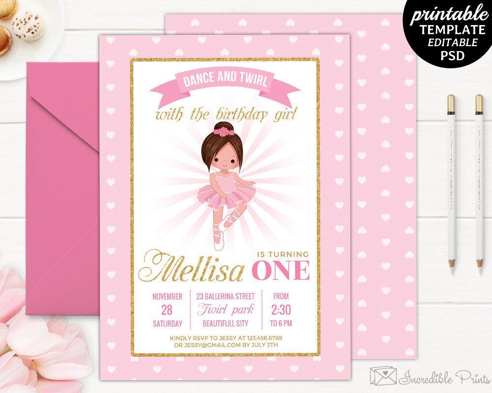 Ballerina Birthday Invitation Template