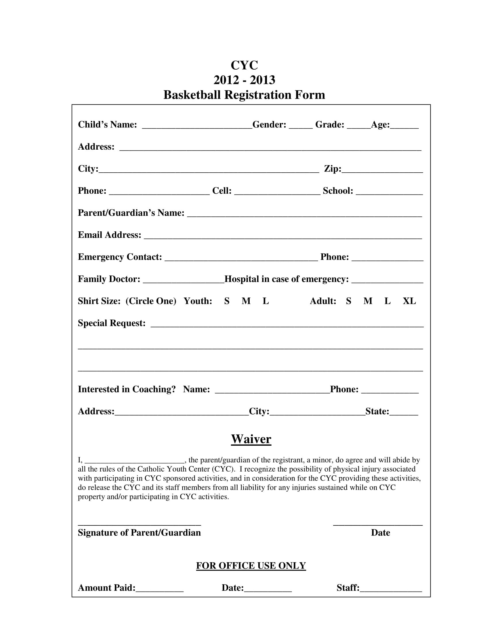 Basketball Registration Form Template Word