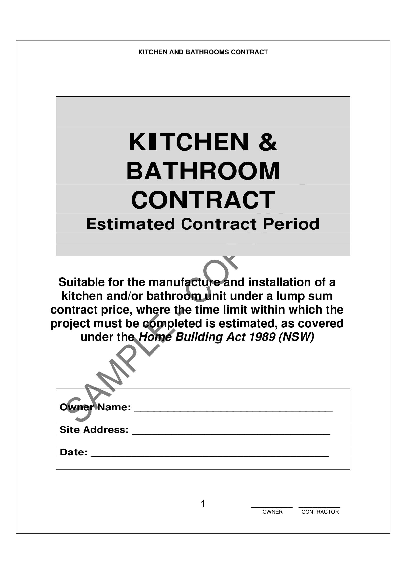 Bathroom Remodel Contract Template
