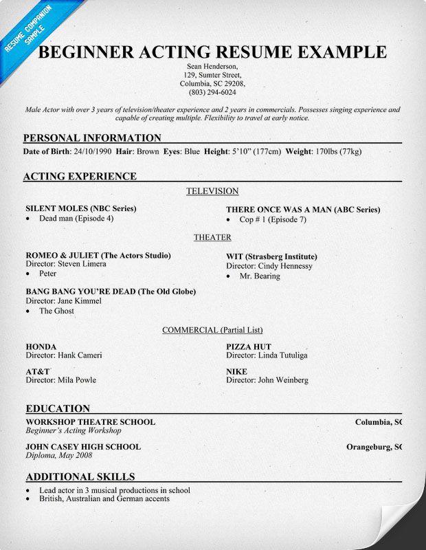Beginner Free Acting Resume Template
