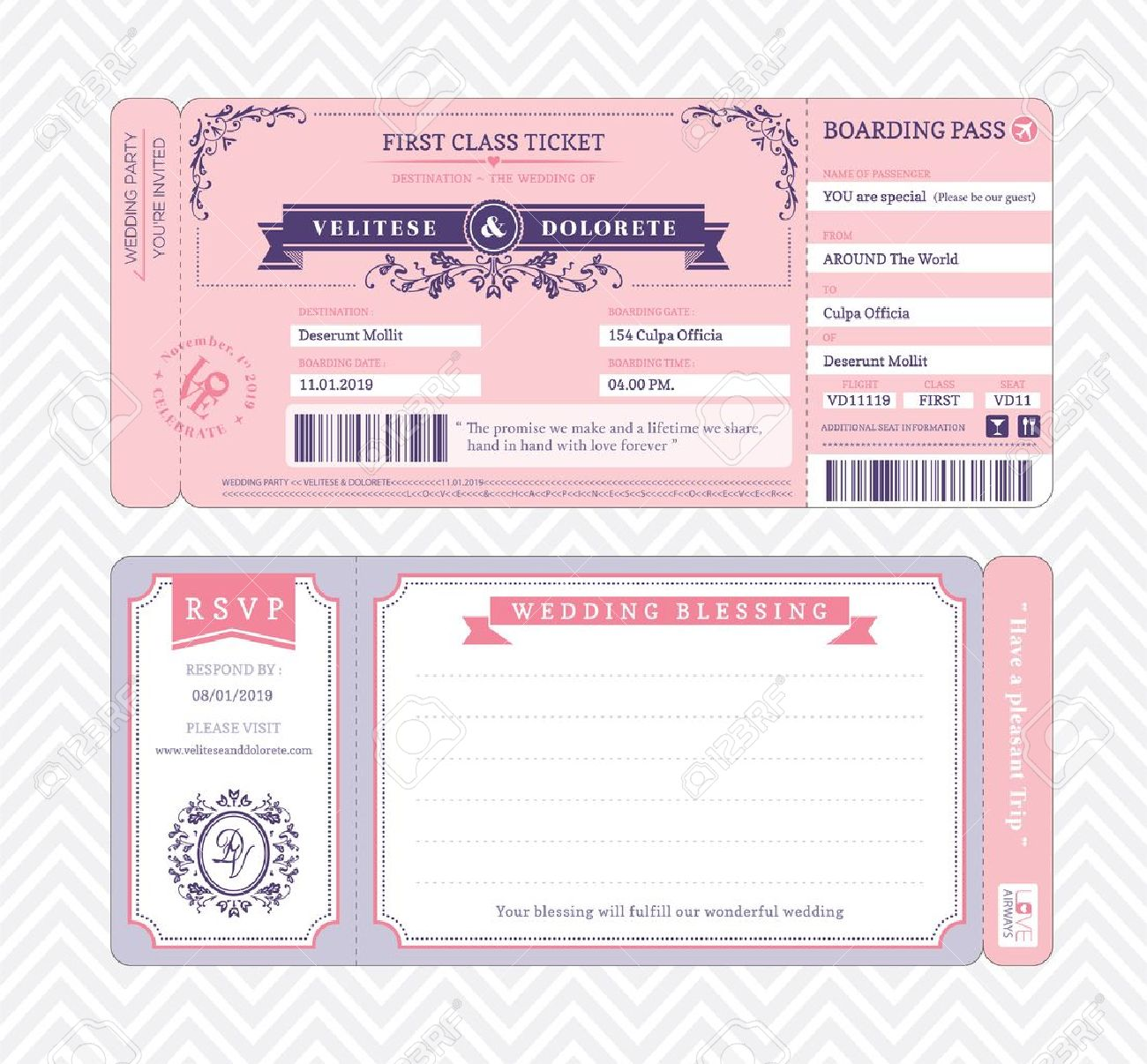 Blank Boarding Pass Wedding Invitation Template