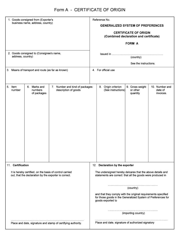 Blank Certificate Of Origin Template