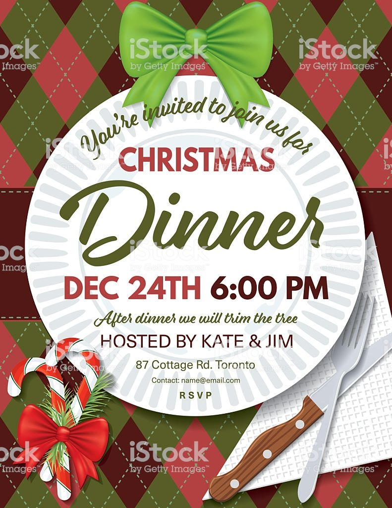 Blank Christmas Dinner Invitation Template Free