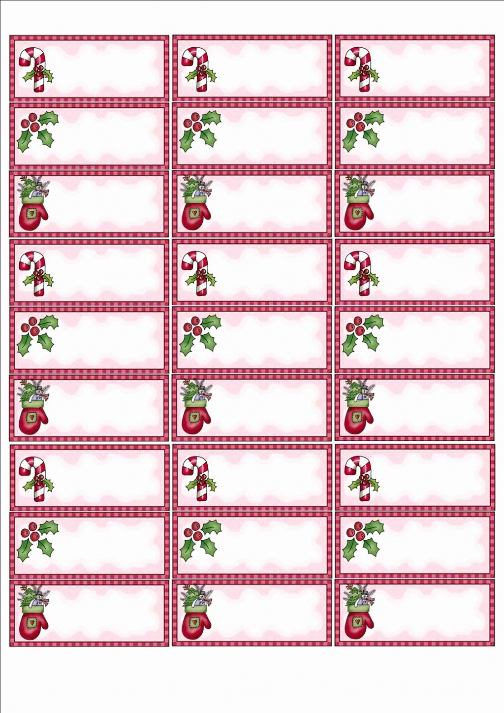 Blank Christmas Label Templates