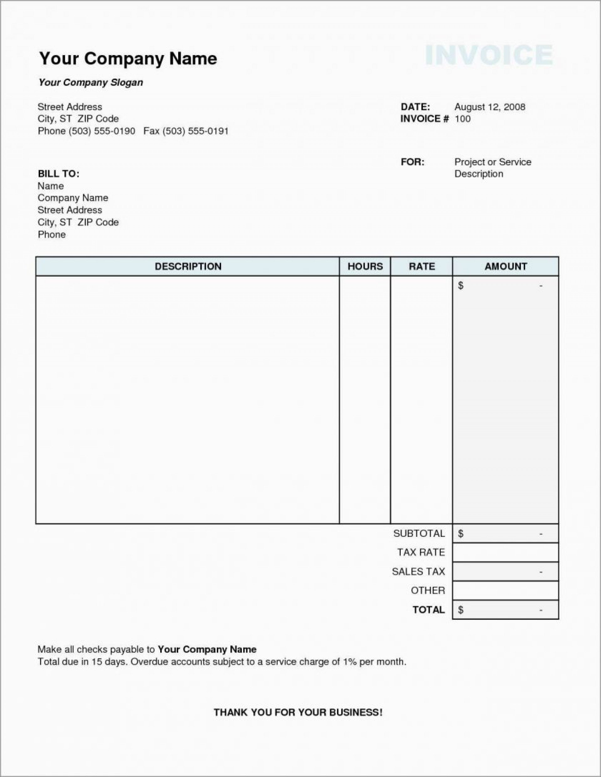 Blank Downloadable Free Printable Invoice Templates