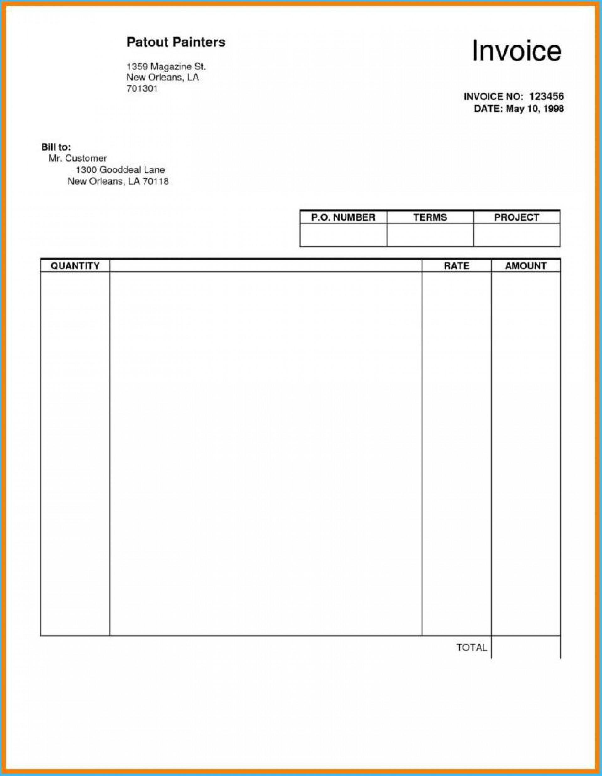 Blank Fillable Invoice Template Free