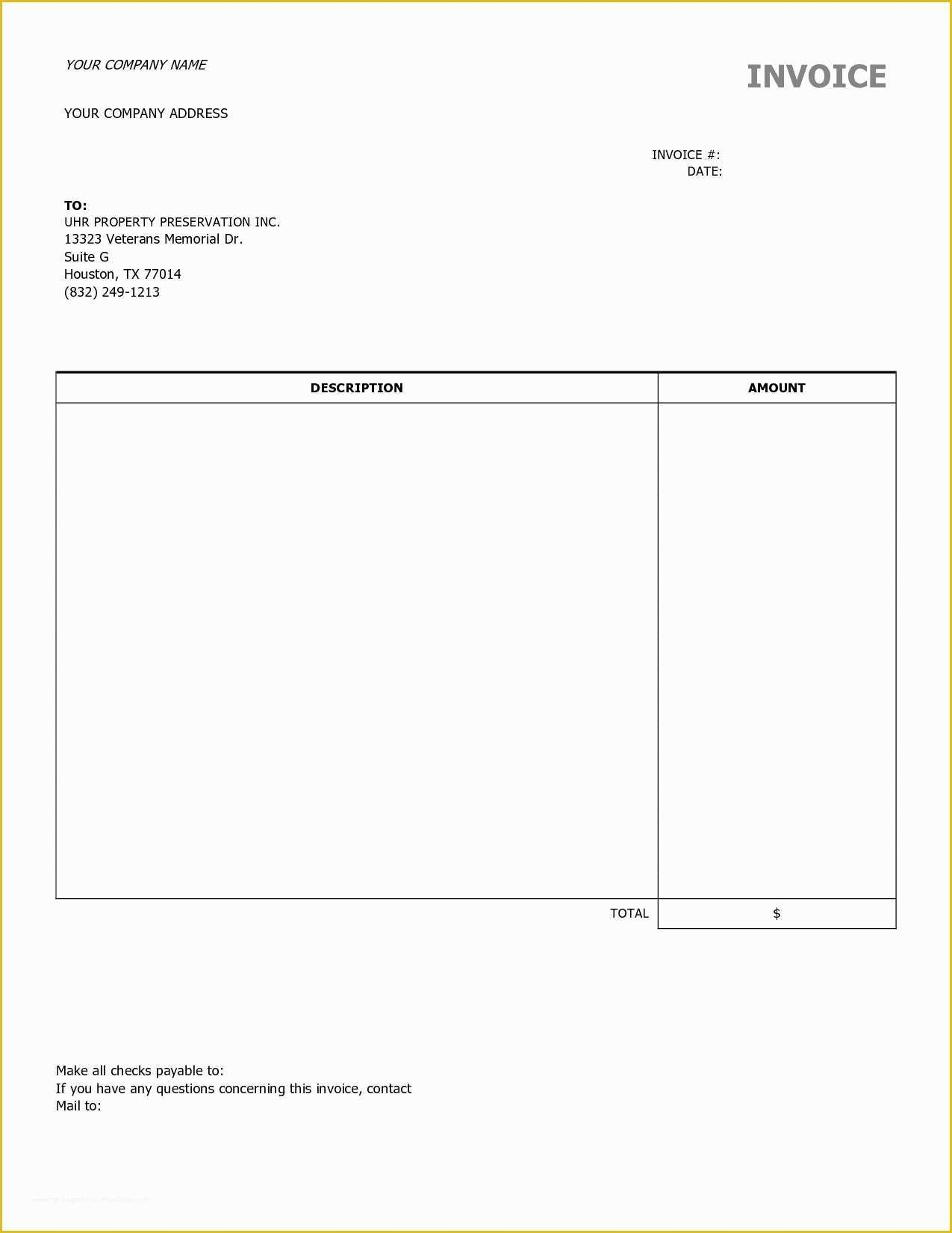 Free Printable Construction Invoice Template Of Blank Contractor Invoice Invoice Template Ideas