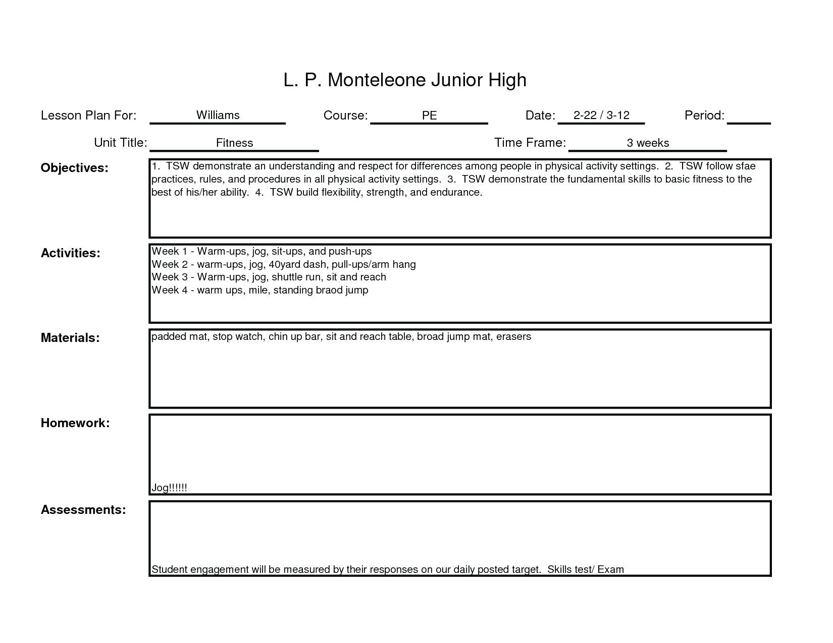 Blank Lesson Plan Template For Physical Education