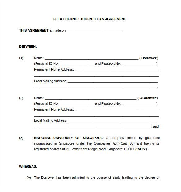 Blank Loan Agreement Template Free