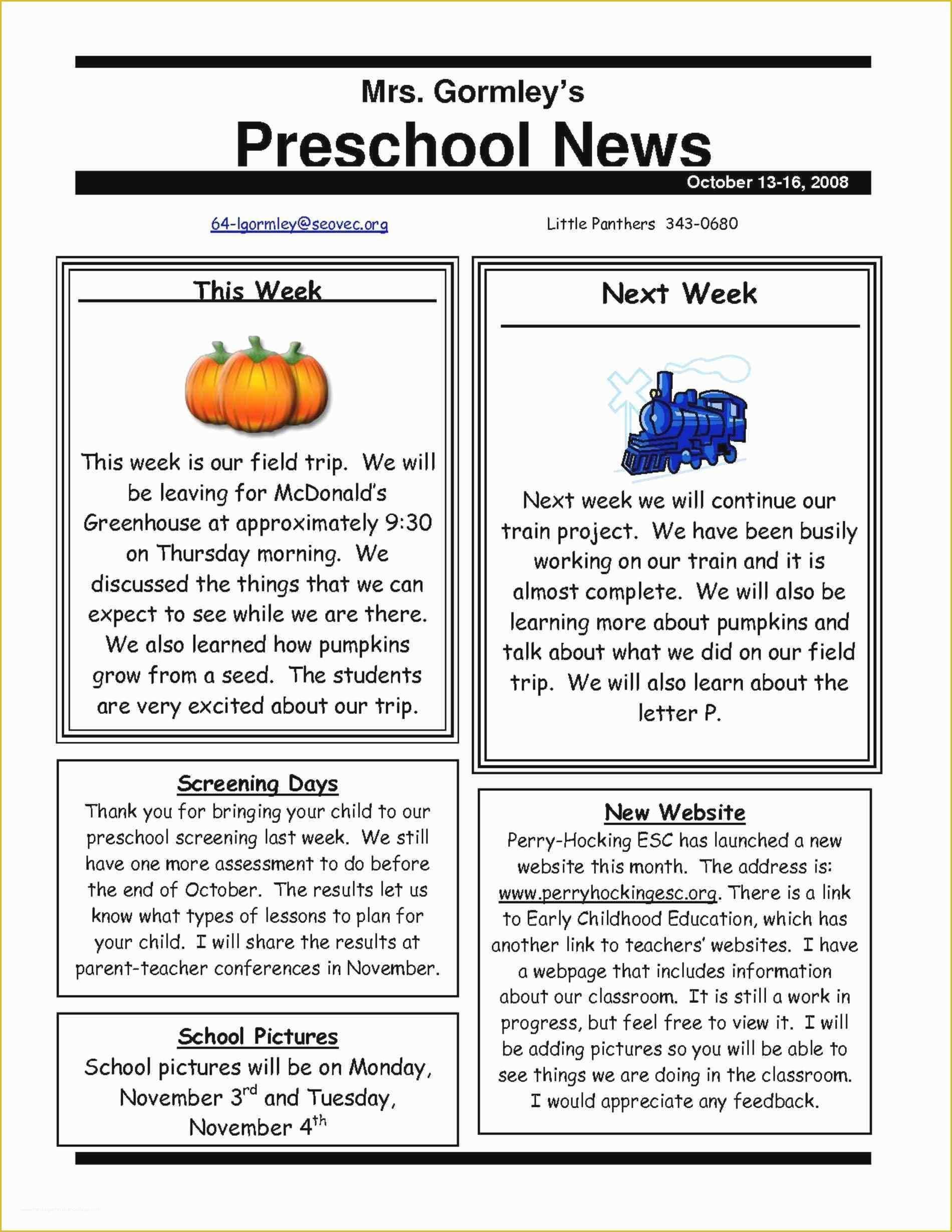 Free Teacher Newsletter Templates Microsoft Word Of Elegant Free Editable Newsletter Templates For Preschool