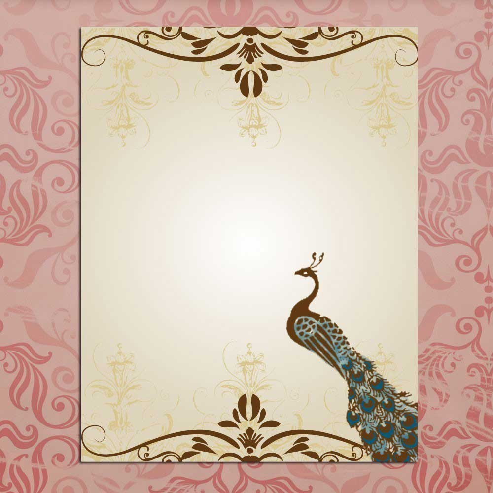Blank Peacock Invitation Template