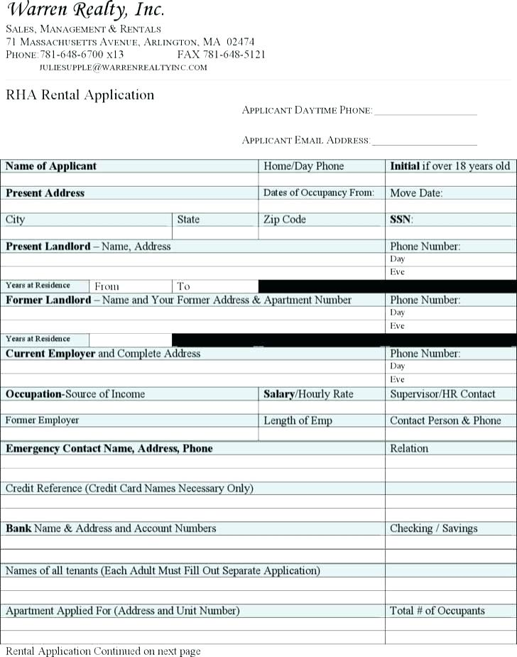 Blank Rental Application Template