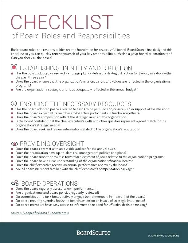 Board Of Directors Handbook Template