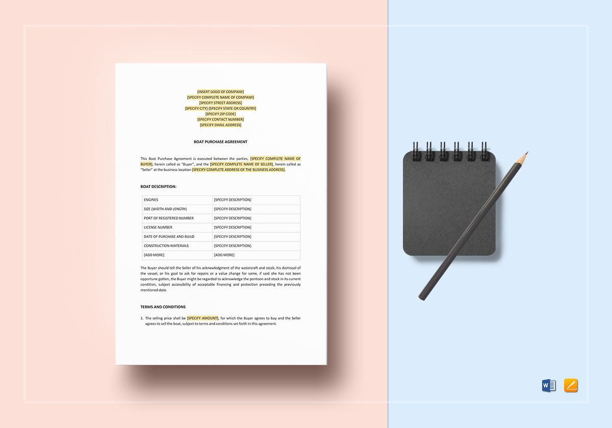 Boat Purchase Agreement Template Word