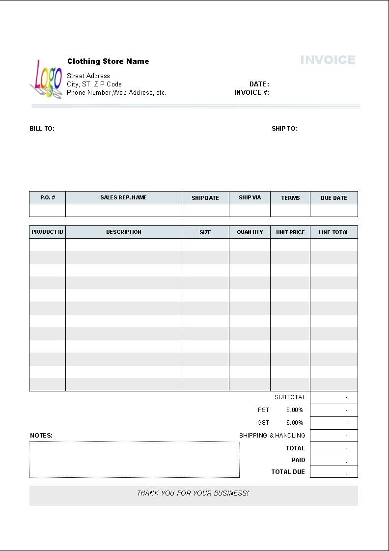 Body Shop Invoice Template Free