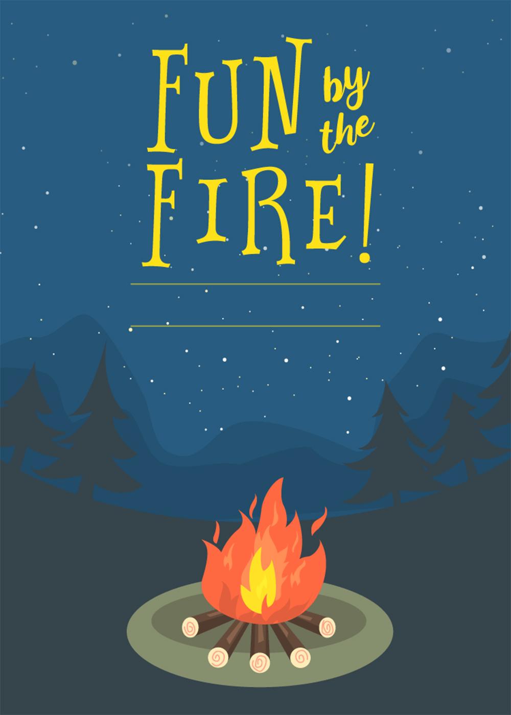 Bonfire Invitation Template