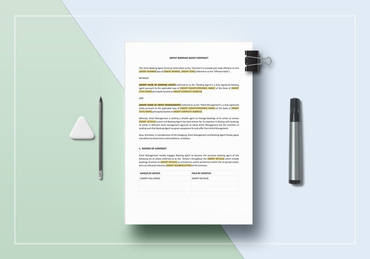 Booking Agent Artist Booking Contract Template