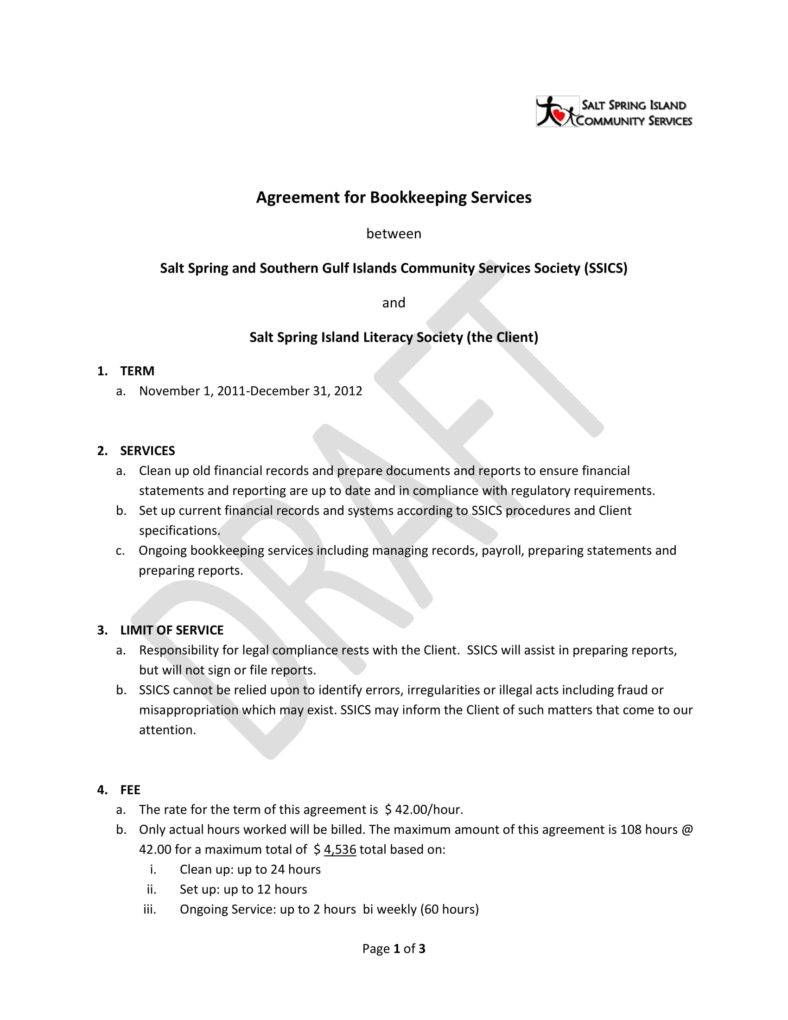 Bookkeeping Contract Template Canada
