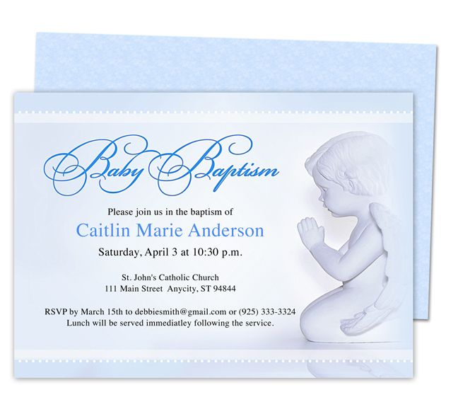 Boy Template Baby Boy Printable Christening Invitation