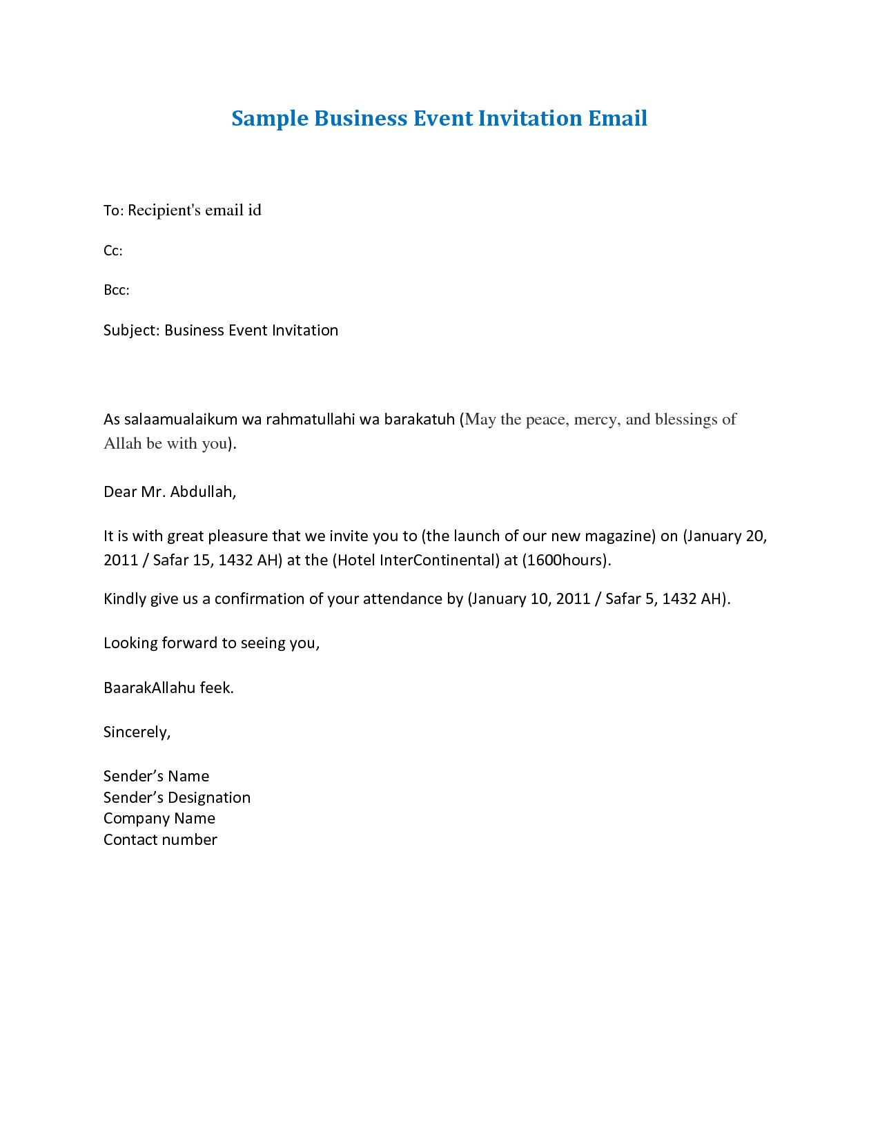 Business Event Invitation Letter Template