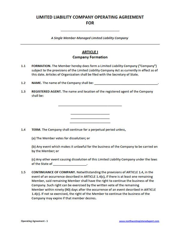 Business Operating Agreement Template Free