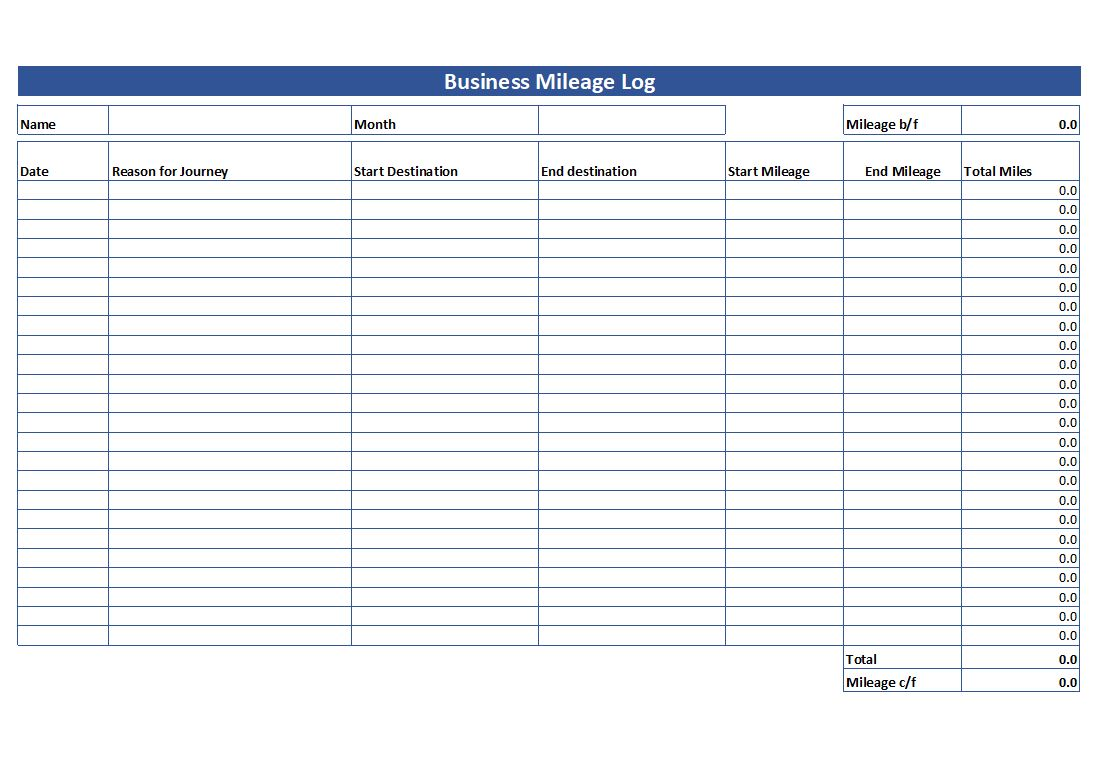 Car Mileage Log Book Template