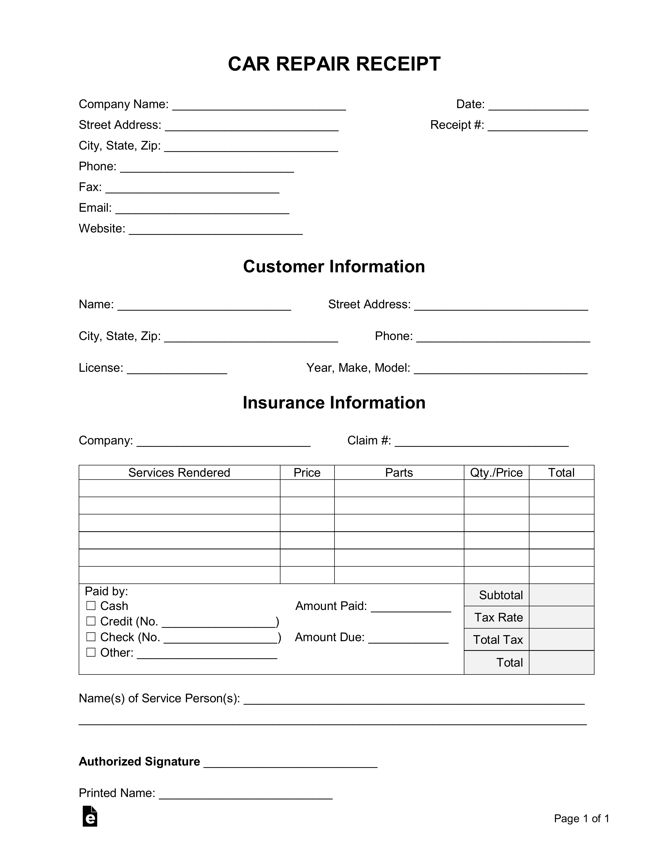 Car Repair Receipt Template Free