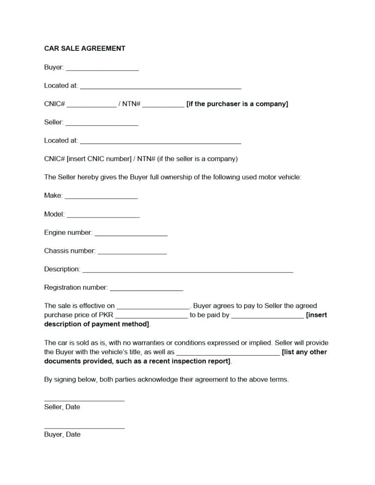 Car Sales Contract Template Australia