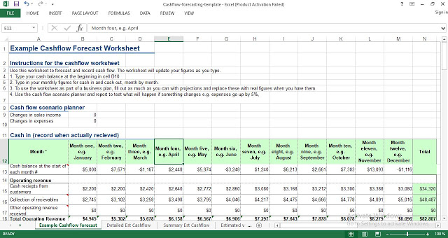 Cash Forecasting Template Excel
