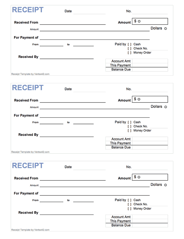Cash Receipt Template Free Printable