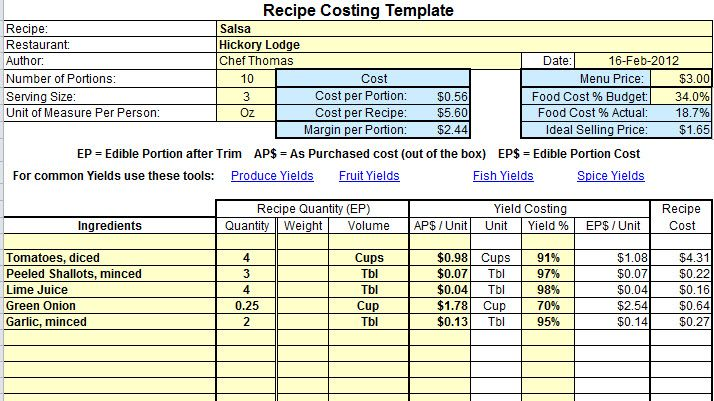 Catering Costing Template