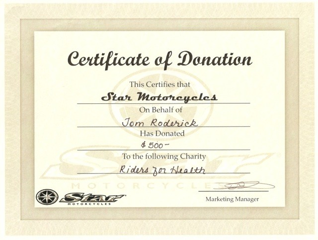 Certificate For Charity Donation Template