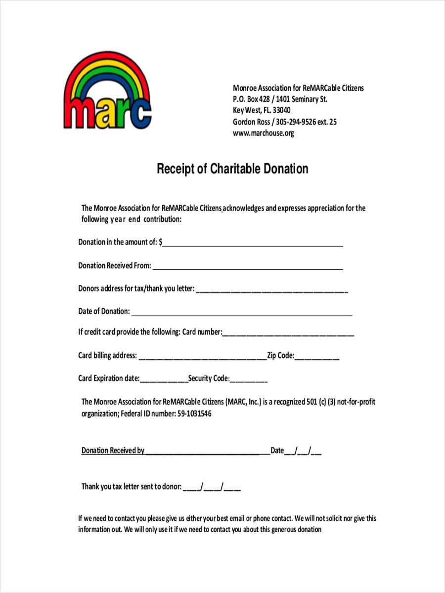 Charitable Donation Church Donation Receipt Template