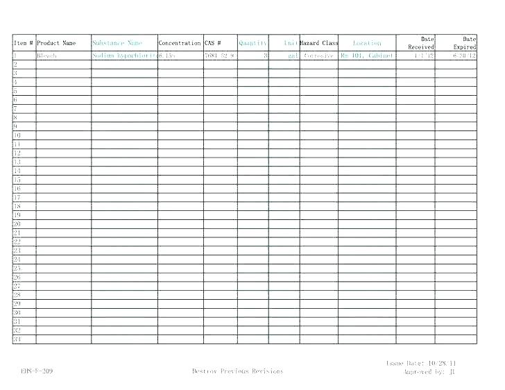 Chemical Storage Inventory Template