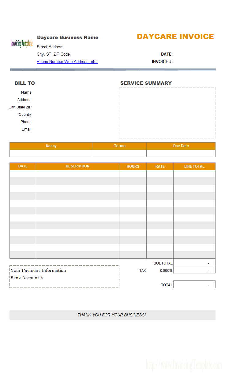 Child Care Invoice Template Excel
