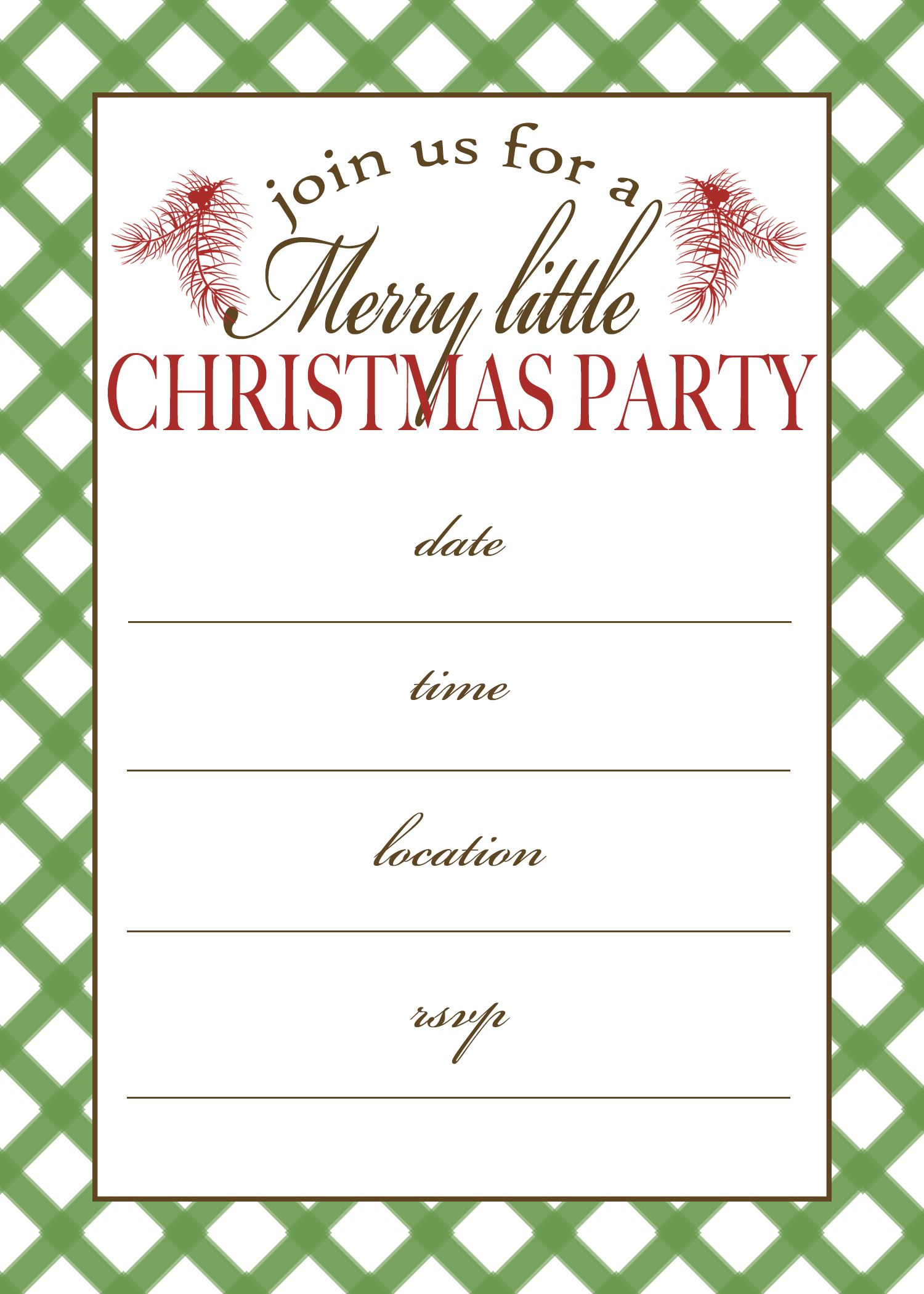 Christmas Pajama Party Invitation Template